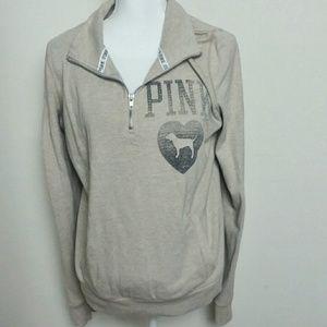 VS Pink Half Zip Pullover Sweatshirt with Dog Logo
